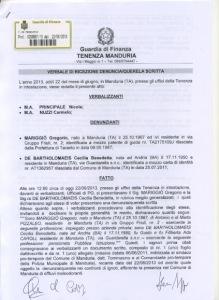 Verbale ricezione denuncia- Guardia Finanza Manduria pag.1