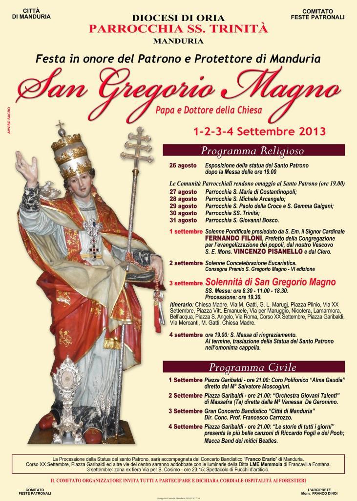 Manifesto Festa Patronale San Gregorio Magno  Sett 2013 Manduria